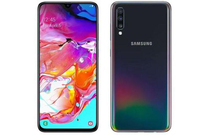 Frontal y trasera del Galaxy A70