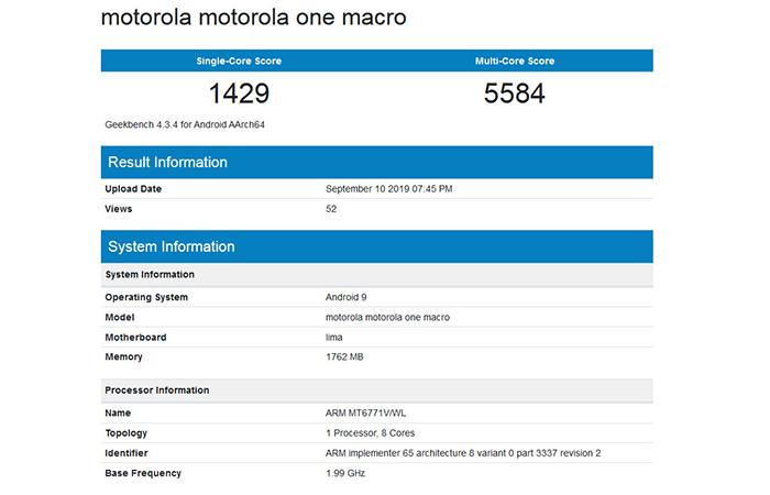 Resultados del Motorola One Macro en Geekbench