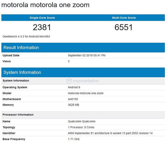 Motorola One Zoom Geekbench