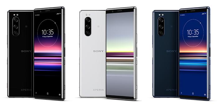 Frontal y trasera del Sony Xperia 5 en varios colores