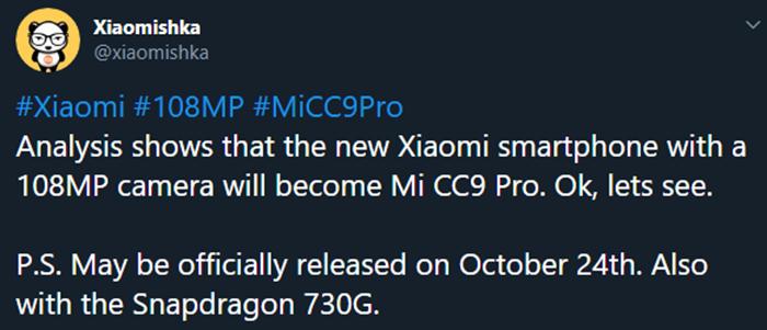 filtración del Xiaomi CC9 Pro en Twitter